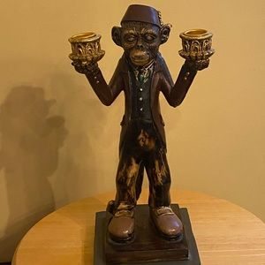 Monkey statue candle holder, double candlestick.